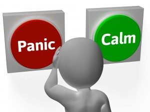 Panic Calm Buttons Showing Worrying Or Tranquility